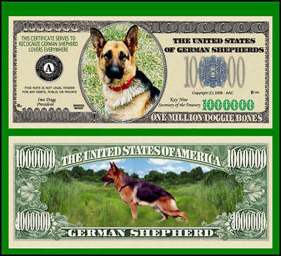 25 Factory Fresh Novelty German Shepherd Dog Million Dollar Bills