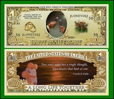 25 Factory Fresh Novelty Happy Anniversary Million Dollar Bills