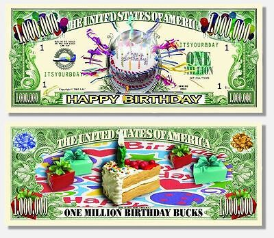 25 Factory Fresh Novelty Happy Birthday Million Dollar Bills