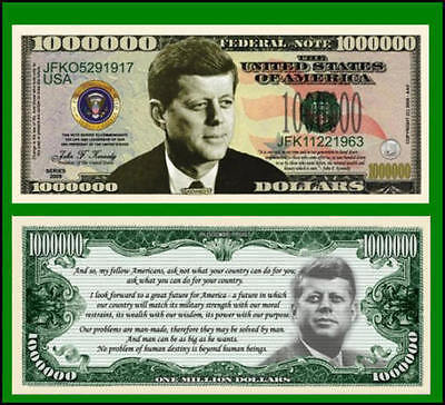 25 Factory Fresh Novelty John F. Kennedy Million Dollar Bills
