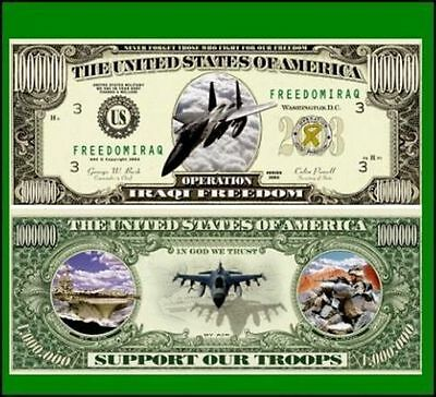 25 Factory Fresh Novelty Operation Freedom Million Dollar Bills New