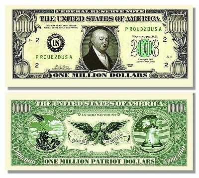 25 Factory Fresh Novelty Paul Revere Million Dollar Bills