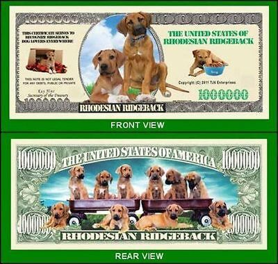 25 Factory Fresh Novelty Rhodesian Ridgeback Dollar Bills