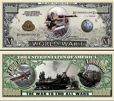 25 Factory Fresh Novelty World War I Million Dollar Bills