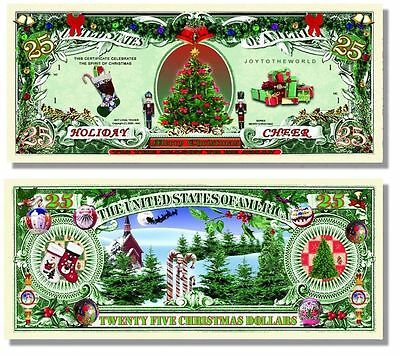5 Factory Fresh Novelty Holiday Cheer $25 Dollar Bills