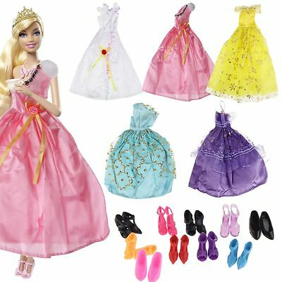Lot 15 Items = Random 5 Dresses + 10 Shoes Wedding Party Clothes For Doll