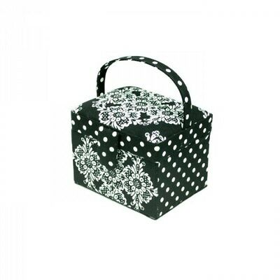 Dotty Diamond White Floral On Black Small Sewing Craft Basket