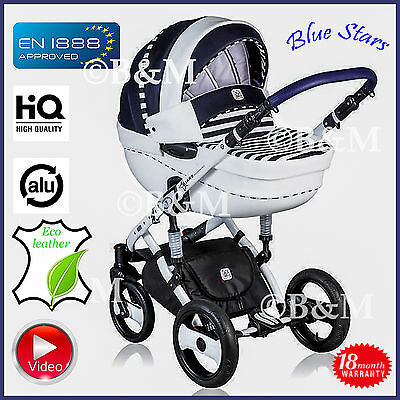 DP - Blue Stars travel system 3in1 Pram Pushchair Car seat Buggy Alu chassis