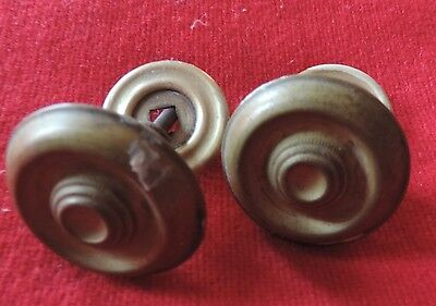Pair Antique 19th c. Spun Brass Furniture Knob Drawer Pull Handle Federal Door