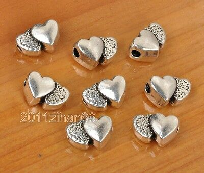 30Pcs Tibetan Silver Double Heart Spacer Beads Charms spacer bead 12x8mm B3351