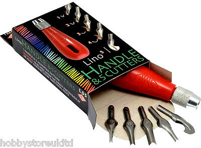 Lino Cutters Lino Cutter & Handles Set + Blades Lino Cutting Tools Set of 5 New