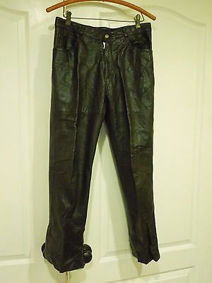 Vintage Cougar International Women's Black Pleather Faux Leather Pants Size 31