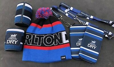 CARLTON DRY PROMO Gear  BEANIE+KNITTED COOLER+PH CARRIERS Brand New Promo Gear