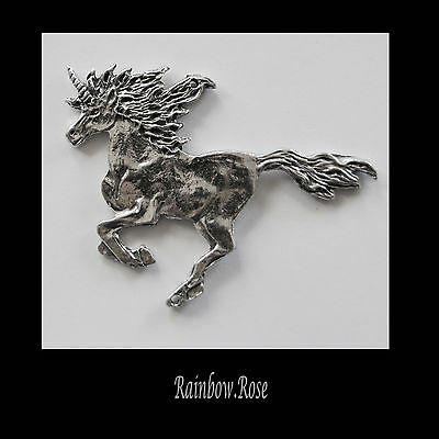 PEWTER CHARM #195 UNICORN GALLOPING 2 holes double sided 65mm
