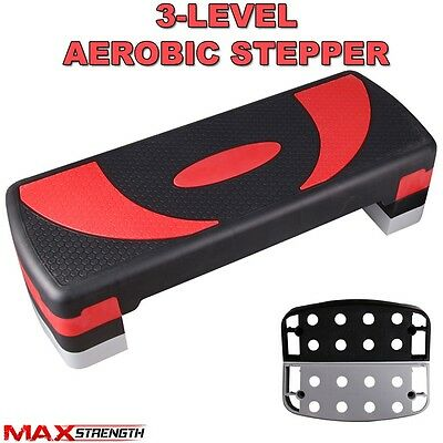 Red Adjustable Aerobic Step Stepper Home Yoga Gym Exercise Board 3 Level Height