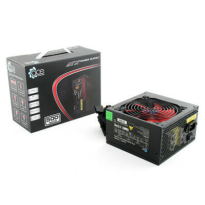 ACE 500W Black ATX Gaming PC PSU Power Supply 120mm Red