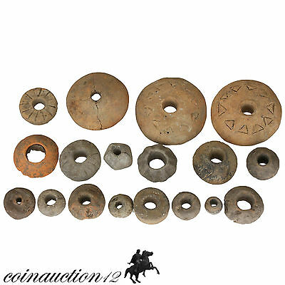 Collection Of 18 Intact Roman Terracotta Spindles 100-400 Ad