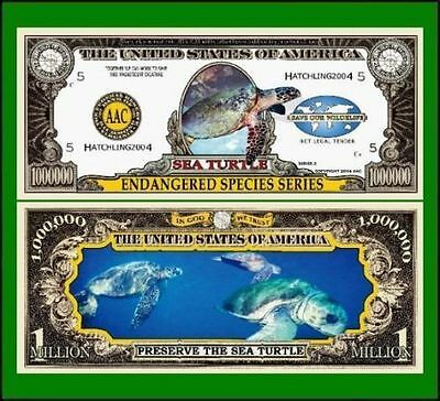 15 Factory Fresh Novelty Sea Turtle Million Dollar Bills