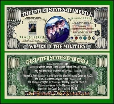 15 Factory Fresh Novelty Women in Military Million Dollar Bills