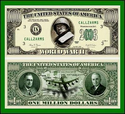 15 Factory Fresh Novelty World War II Million Dollar Bills