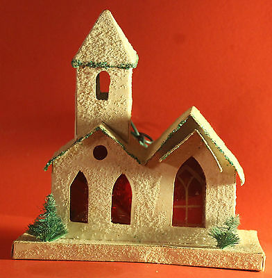 Vintage Christmas Cardboard Cellophane Lighted Church