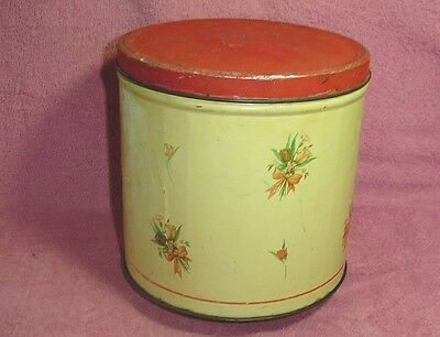 Vintage Collectible Empeco Peach Brown Tulip Tin Canister National Can Corp NY