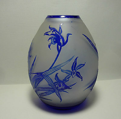 Vintage Chinese Blue Overlay Peking Glass Vase Carved Orchids