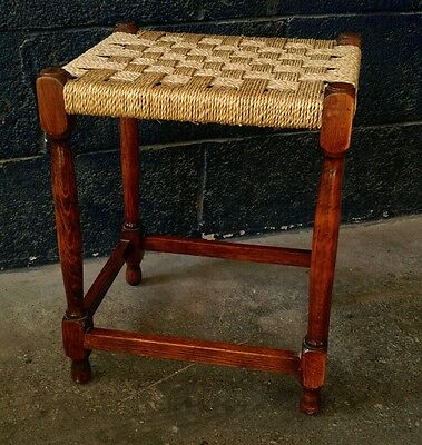 ~Antique ~Vintage ~Original ~Stool in Oak with Woven Top in VGC~ • £29.99