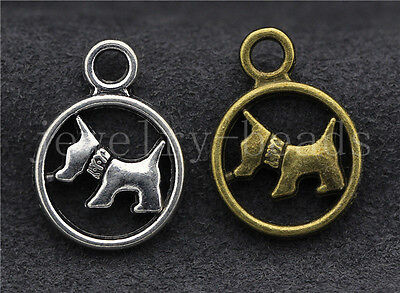 New 10/40/200pcs Antique Silver Lovely Dog Jewelry DIY Charms Pendant 19x14mm