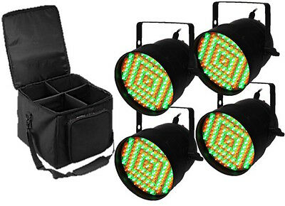 4 x Equinox Black Party PAR 56 LED Can Light Disco Stage Lighting DJ +Carry Case