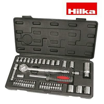 "HILKA 43 pce 3/8"" and 1/4"" Drive Socket Set Metric Sockets Screwdriver bits"
