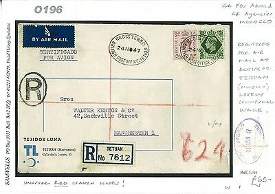 DBO196 1947 MOROCCO AGENCIES Tetuan Registered GB Issues/Manchester Commercial