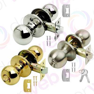 BALA DOOR KNOB SET Ball Round Knobset Passage Privacy Entrance STEEL BRASS