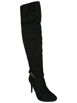 333a2b00f53 Womens Ladies Thigh High Boots Over The Knee Party Stretch Block Mid Heel  Size