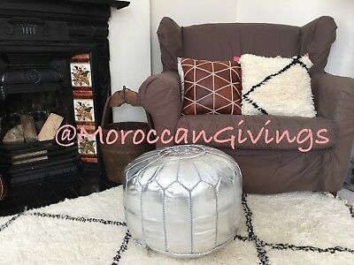 100% Moroccan Handmade Faux Leather Pouffe silver