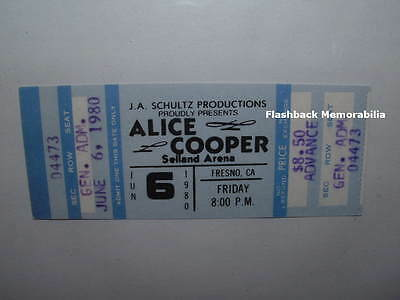 ALICE COOPER Unused 1980 MINT Concert Ticket FRESNO SELLAND ARENA Very Rare