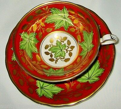 Royal Chelsea - Maple Leaves on Red - Teacup Set