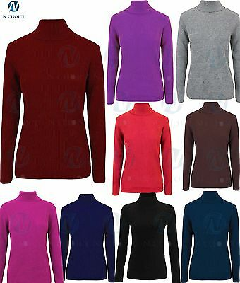Womens Plain Ribbed Polo Turtle Roll Neck Tunic Top Jumper Full Sleeve Girls top