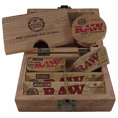 RAW Wooden Rolling Storage Box Gift Set King Size Slim Papers Tips Metal Tin