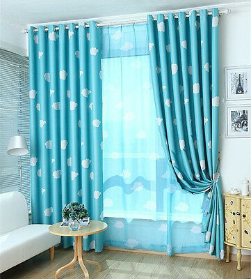 Blockout Blackout Eyelet Curtains Blue Pink Drapes Kids Baby Boy's Girl's Room