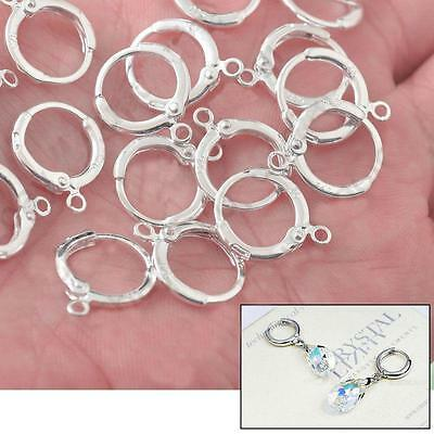 20X Round Ear Wire Silver Earring Pendant Connector Hook Findings