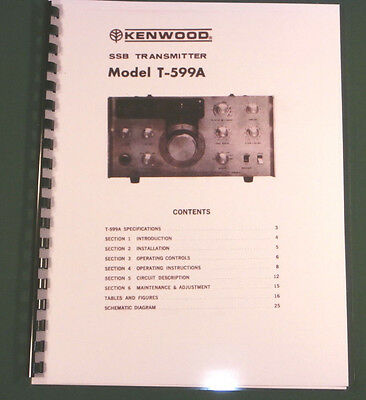 Kenwood T-599A Instruction Manual - Premium Card Stock Covers & 32 lb Paper