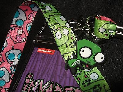 New Invader Zim Pig Pink Green Rubber Gir Charm Lanyard Id Card Pin Badge Holder