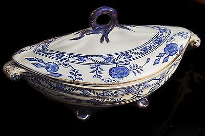 Antique Blue Onion Tureen. Gelson Brothers Co. of Hanley, England . circa 1871