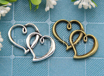New 6/30/150pcs Antique Silver Tone Double Heart Charms Connector DIY 30x20mm