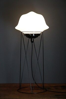 Art deco black floor lamp stand and original 1950's shade table lighting wire