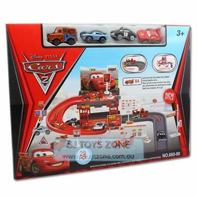 Disney Lightning McQueen Kids Car Park Garage Racing Track Boy Gift Toy
