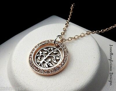 Beautiful Silver & Rose Gold Rhinestone Ring Tree Of Life Pendant Necklace 56cm