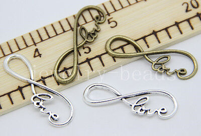 New 6/30/150pcs Antique Silver Tone 8 Infinity Sign LOVE Charm Connector 39x12mm