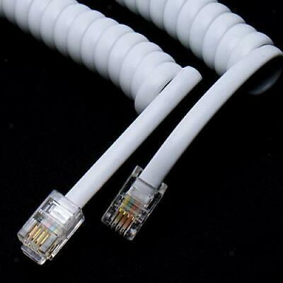 5.7ft White Telephone Handset Phone Extension Cord Curly Line Cable Wire RJ11
